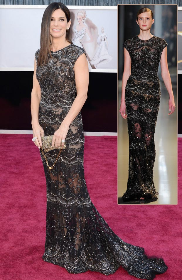 Sandra Bullock Elie Saab black lace dress 2013 Oscars