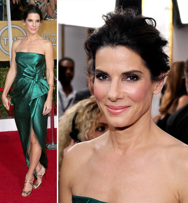 Sandra Bullock green dress 2014 SAG Awards Red Carpet