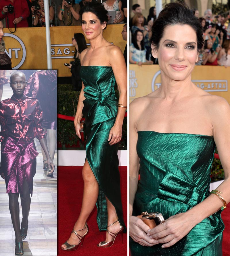 Sandra Bullock Lanvin green dress 2014 SAG Awards