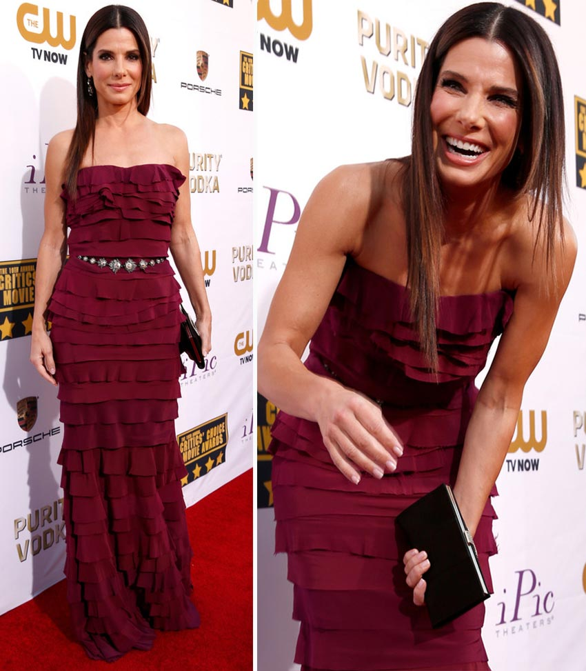 Sandra Bullock Lanvin purple dress 2014 Critics Choice Awards