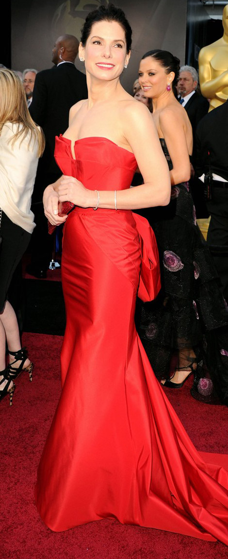 Sandra Bullock red dress 2011 Oscars