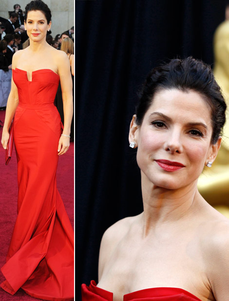 is a very strong woman, I prefer her looking more feminine and vulnerable. How about you? (photos via). Sandra Bullock red Vera Wang dress 2011 Oscars