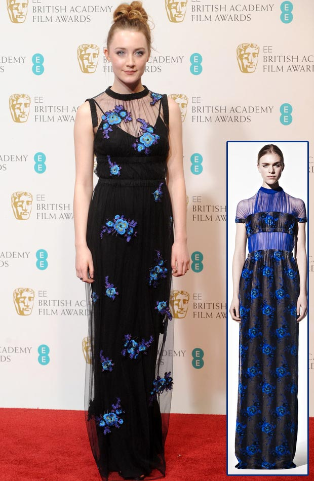 Saoirse Ronan Christopher Kane 2013 BAFTA black dress