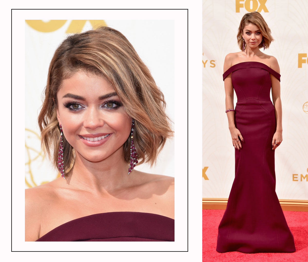 Sarah Hyland 2015 Emmy Awards Red Carpet hairdo