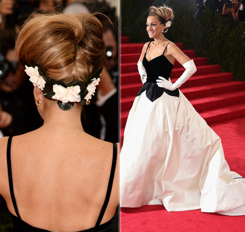 Sarah Jessica Parker hairdo 2014 Met Gala Red Carpet
