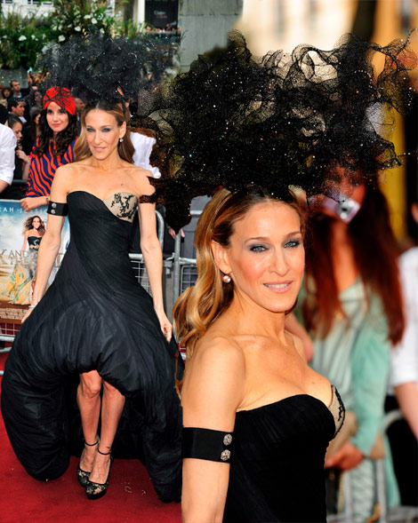 Sarah Jessica Parker McQueen dress Treacy hat London SATC2 premiere