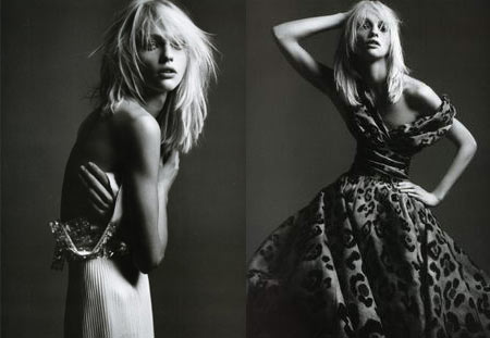 Sasha Pivovarova photographed by Hedi Slimane for French Vogue April Issue