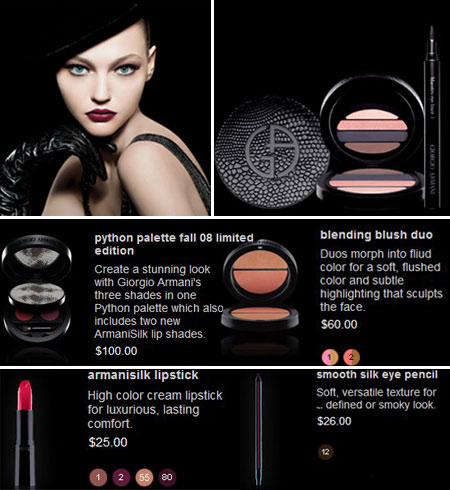 Sasha Pivovarova Giorgio Armani Makeup Python Collection Fall 2008