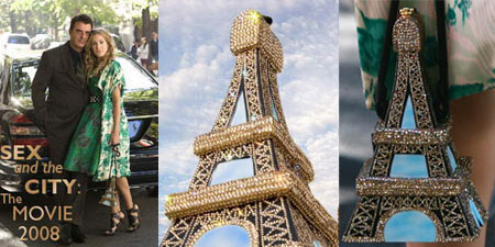 SATC Timmy Woods Swarovski Eiffel Tower Bag