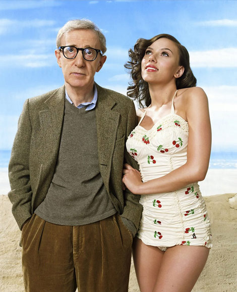 Scarlett Johansson Woody Allen looking up