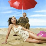 Scarlett Johansson Woody Allen the beach red umbrella