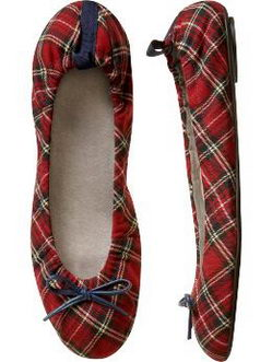 The Scrunched Plaid Ballet Flats Gap