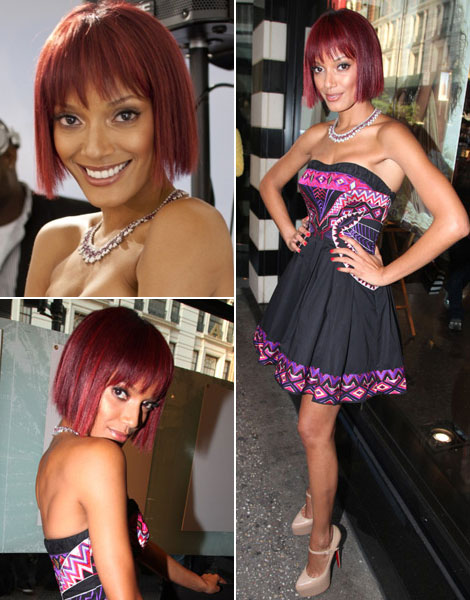 Selita Ebanks new short red hairdo