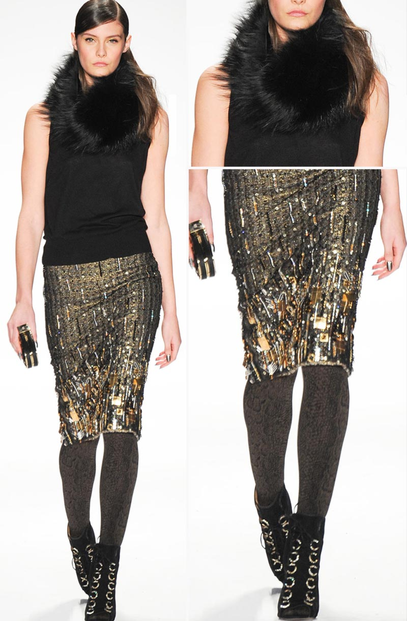 sequins gradient skirt Badgley Mischka fall 2014