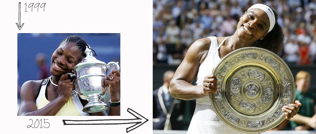 Serena Williams first Grand Slam tournament trophy last 1999 2015
