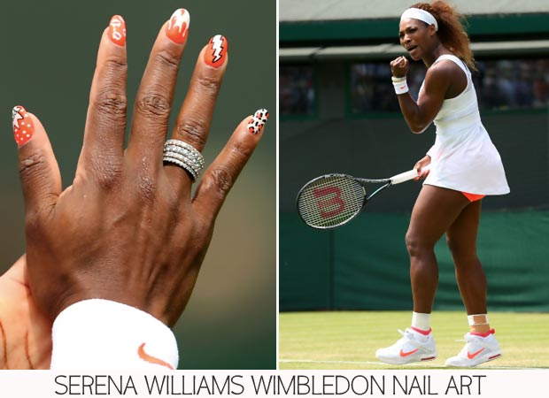 Wimbledon Nails: Serena Williams White And Orange Funky Nails