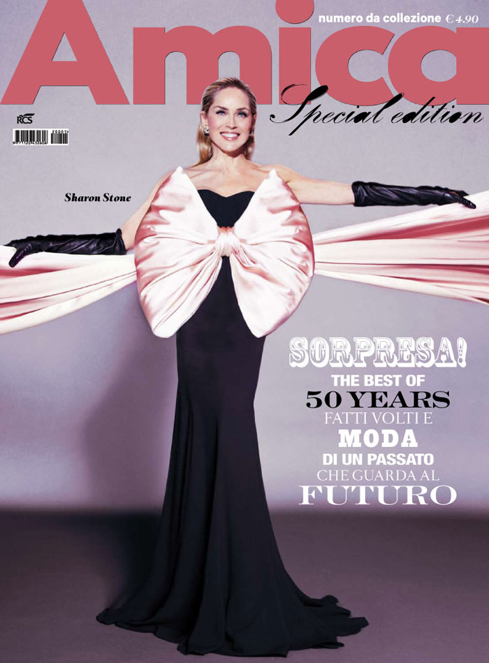Sharon Stone pink bow Amica cover