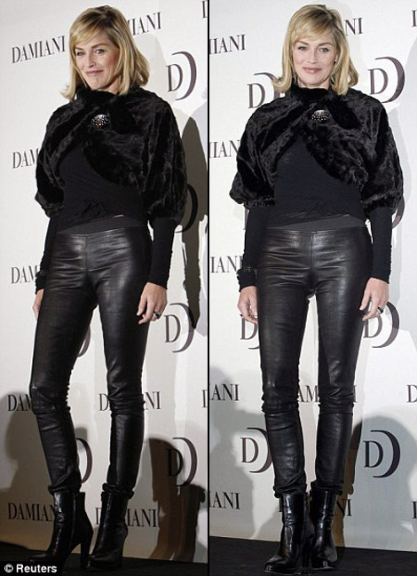 She softened the rock vibe of those leather pants with a very chic lady fur