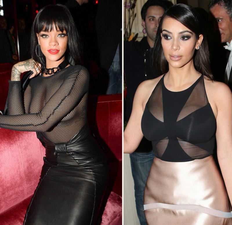 sheer top Rihanna vs Kim Kardashian