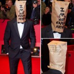 Shia LaBeouf movie premiere paper bag red carpet