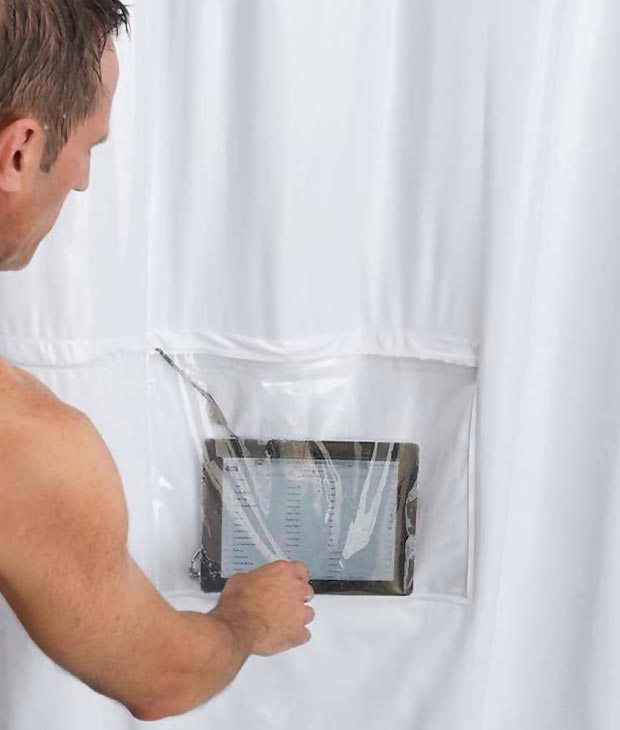 shower curtain tablet embedded