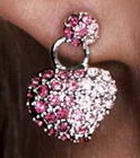 Silver and Crystal Heart Earrings