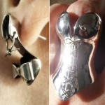 Silver Stiletto earrings corset ring