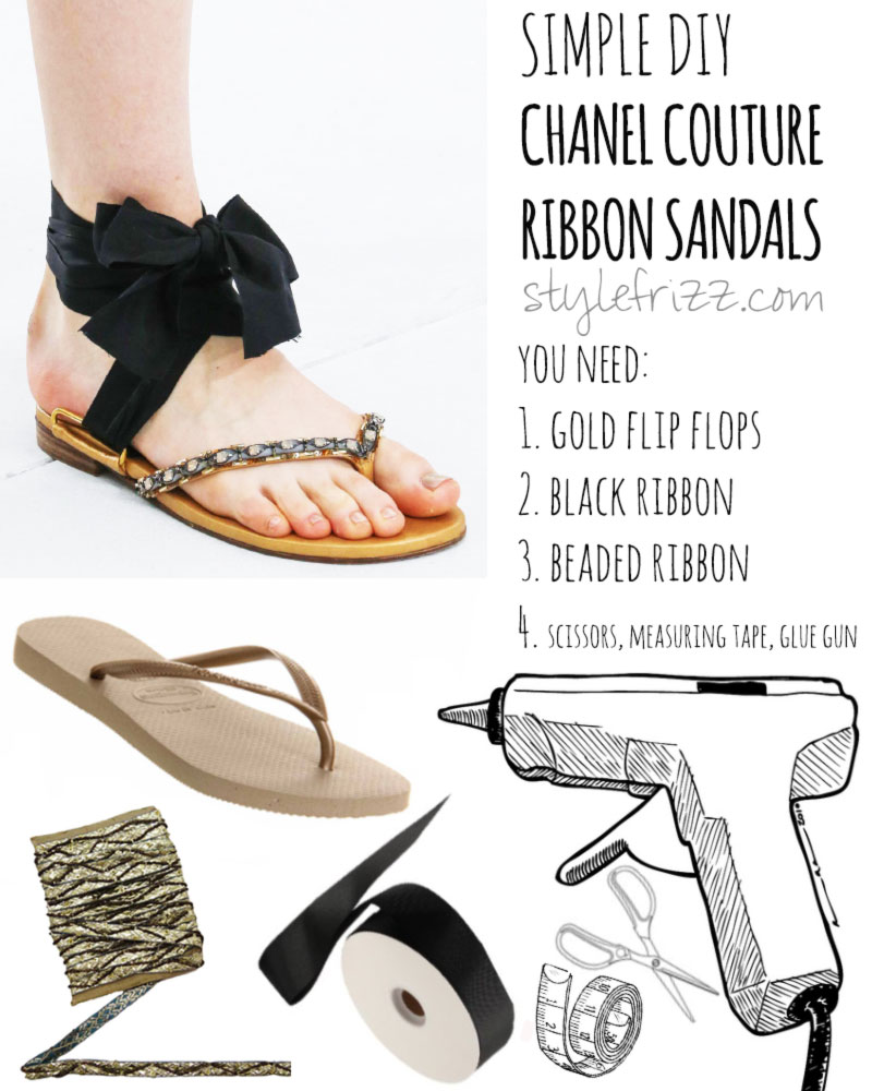 Simple DIY Chanel Ribbon Couture sandals