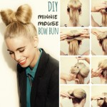 simple DIY spring summer hairstyle minnie mouse bow bun
