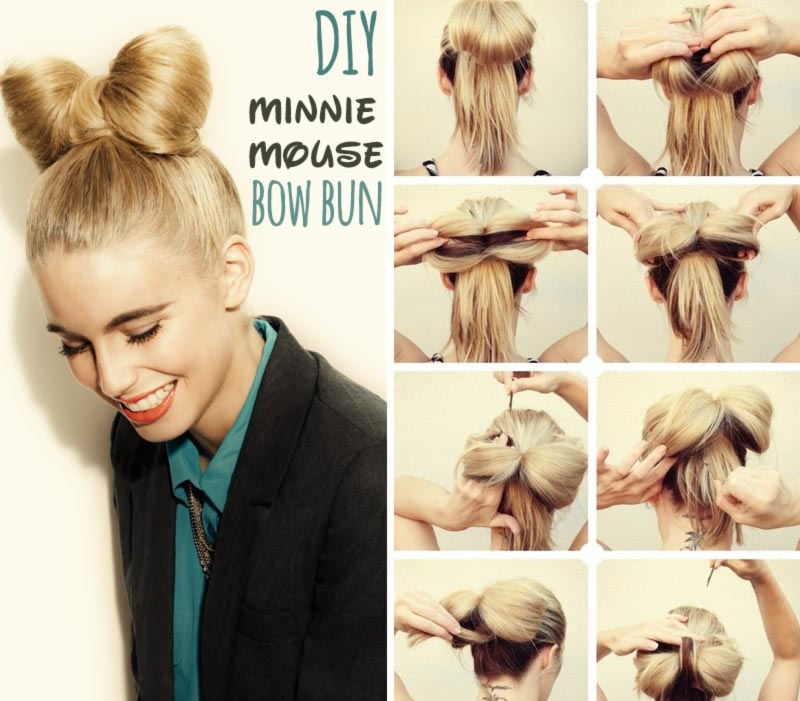 simple DIY spring summer hairstyle minnie mouse bow bun ...