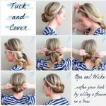 simple DIY hairstyle tucked in headband updo