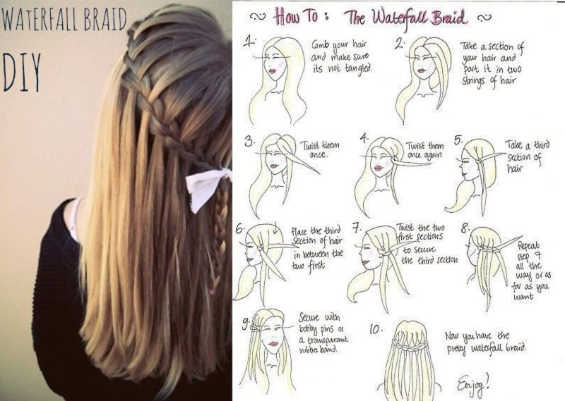 simple DIY spring summer hairstyle waterfall braid