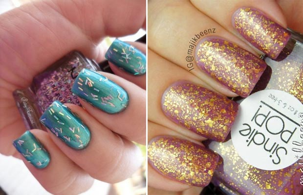 simple gorgeous winter nails flakes gold topcoat