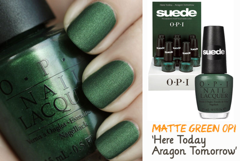 simple nails for Spring matte green nails