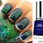 simple spring green nails Holo Flakies over blue nails