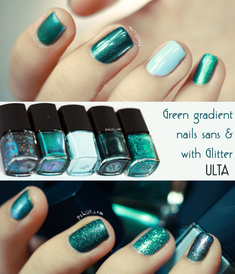 simple spring nails green gradient with without glitter