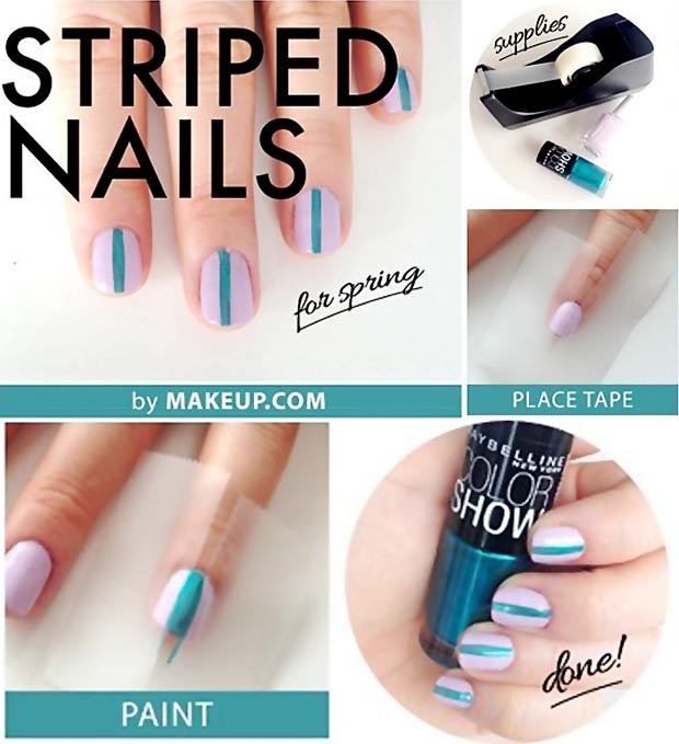 simple striped nails tutorial