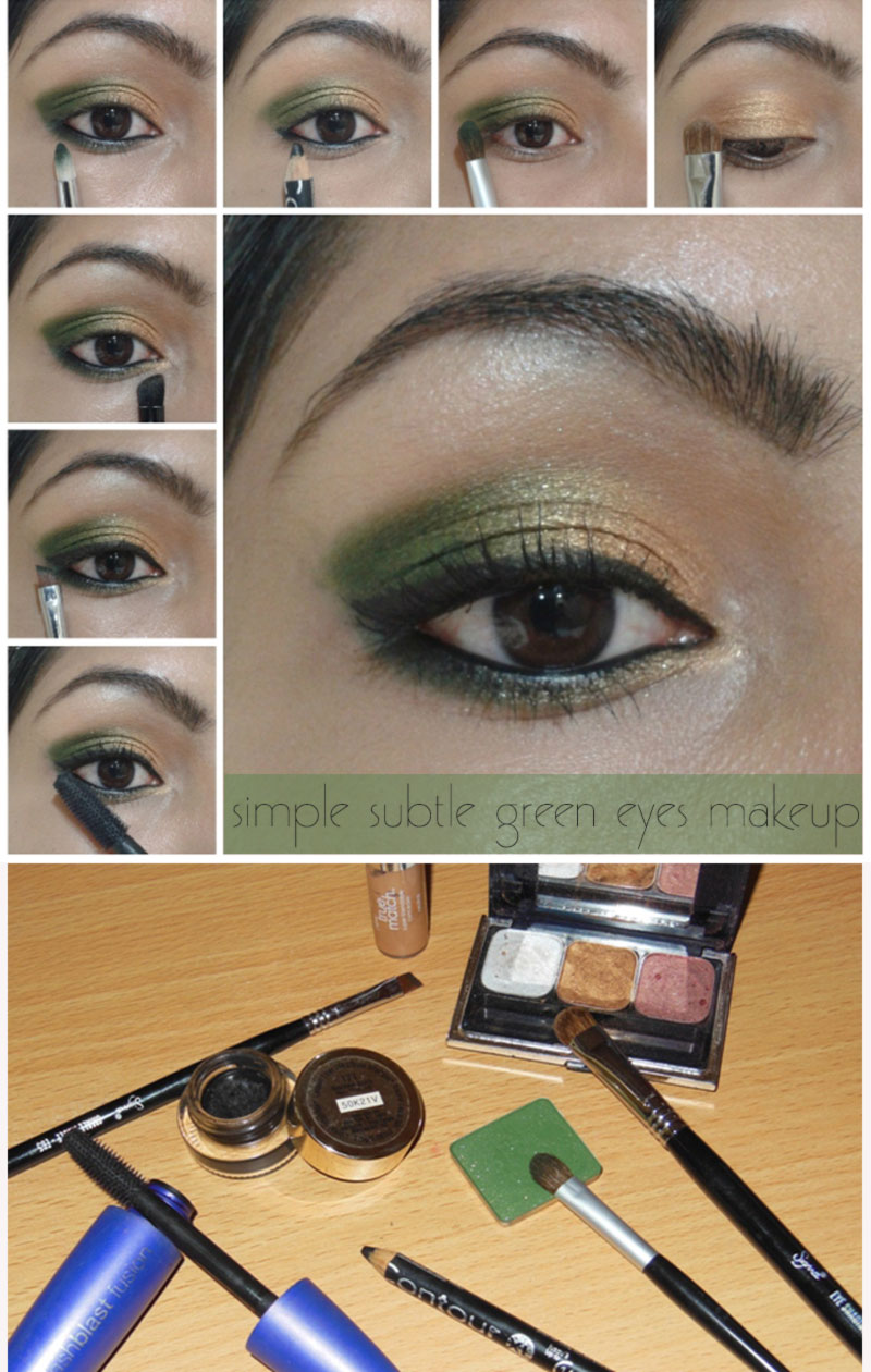simple subtle green gold spring makeup