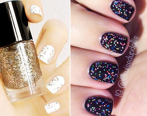 simple gorgeous winter nails glitter topcoat nails