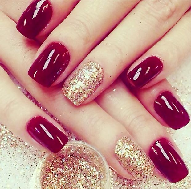Simple Winter Nails Red Gold