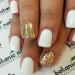 simple winter nails white gold glitter