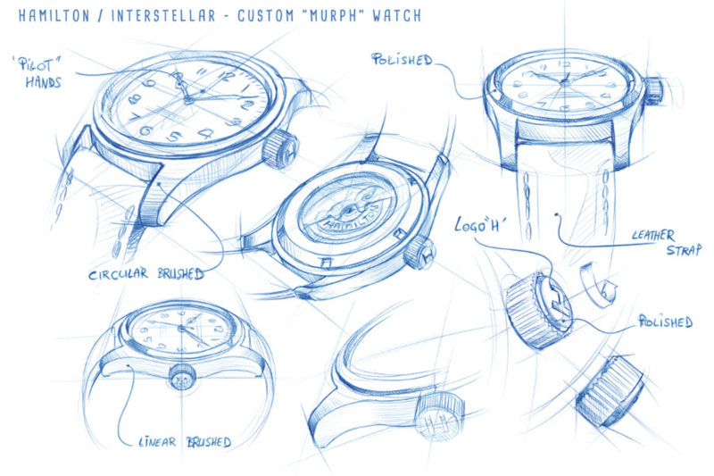sketches of the original watch Murph Interstellar