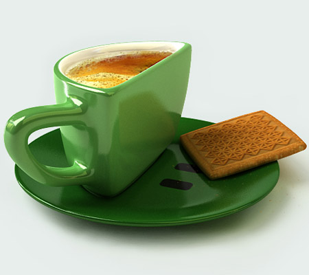 Smile cup by Psyho green with biscuit