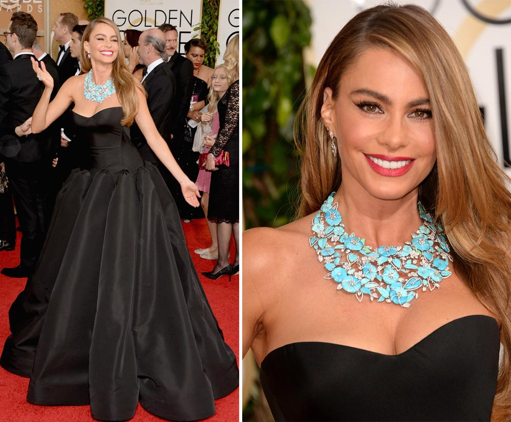 Sofia Vergara black dress 2014 Golden Globes Zac Posen