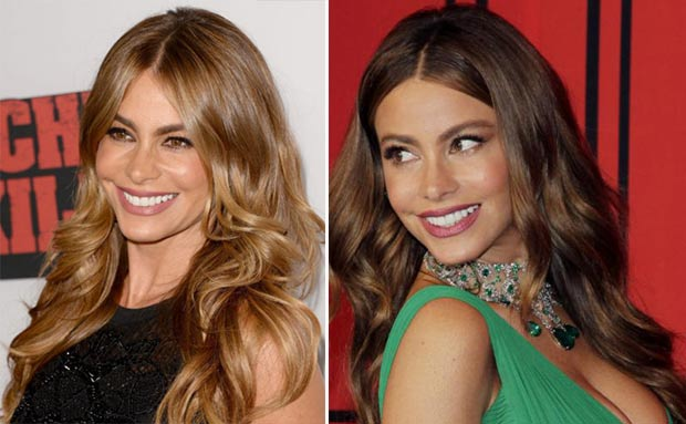 Sofia Vergara blonde hair vs dark hair