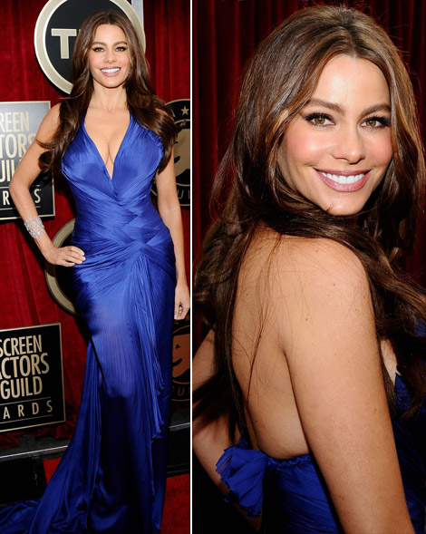 Sofia Vergara blue Cavalli dress 2011 SAG Awards