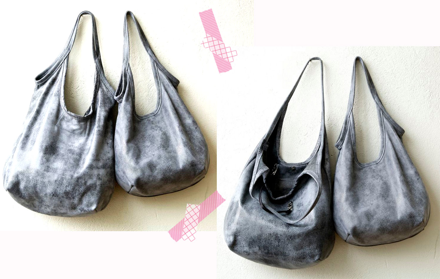 soft distressed tote bag