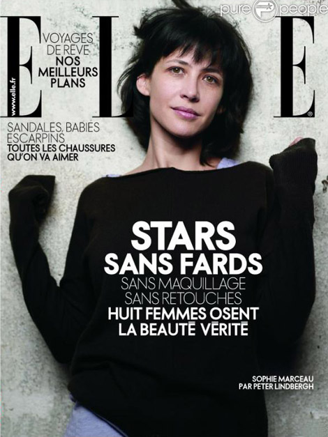 sophie marceau without makeup elle cover