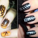 Spider web nails black on orange silver on black