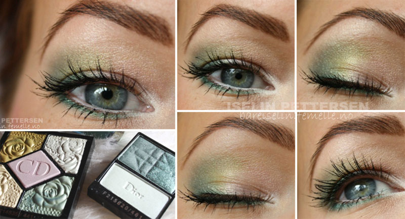 spring green gold makeup